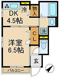 千葉県松戸市常盤平7丁目の賃貸アパートの間取り