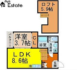 愛知県名古屋市中村区大秋町4丁目の賃貸アパートの間取り