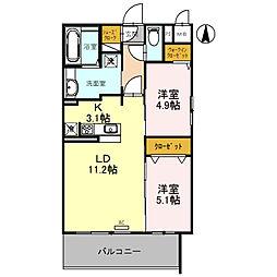 近鉄長野線 喜志駅 徒歩1分の賃貸アパート 5階2LDKの間取り