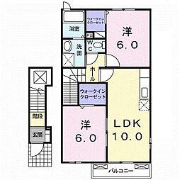 高松琴平電気鉄道長尾線 平木駅 徒歩20分の賃貸アパート 2階2LDKの間取り