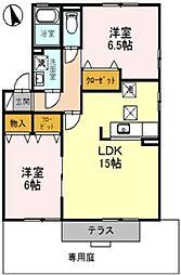 兵庫県神戸市垂水区五色山3丁目の賃貸アパートの間取り