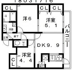 アネックス六兵衛三番館[6階]の間取り