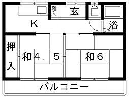 小山荘文化[107号室号室]の間取り