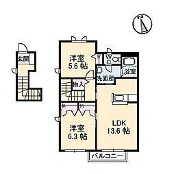 メゾン・ラ・パヴィエ B棟[2階]の間取り