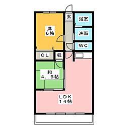 グローリーハイツC棟[1階]の間取り