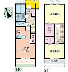[テラスハウス] 千葉県柏市大室 の賃貸【/】の間取り