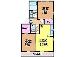 愛媛県松山市今在家4丁目の賃貸アパートの間取り
