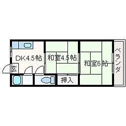 大阪府高槻市明野町の賃貸マンションの間取り
