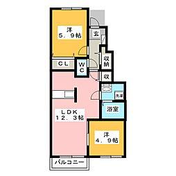 カレントC[1階]の間取り