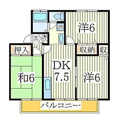 千葉県柏市宿連寺の賃貸アパートの間取り