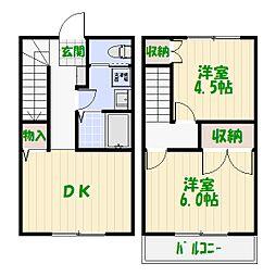 東京都足立区綾瀬3丁目の賃貸アパートの間取り