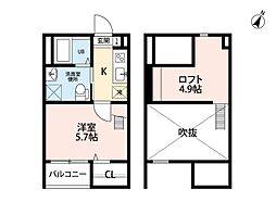 愛知県名古屋市西区平中町の賃貸アパートの間取り