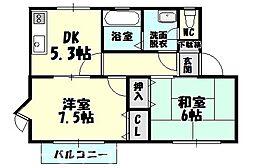 福岡県糟屋郡粕屋町大字柚須の賃貸アパートの間取り