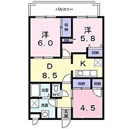 神奈川県座間市東原4丁目の賃貸マンションの間取り