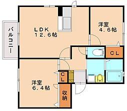 メゾンドショコラA・B・C[2階]の間取り