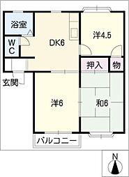 タウン梅里J.K.L棟[1階]の間取り