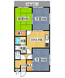 兵庫県伊丹市瑞穂町3丁目の賃貸マンションの間取り