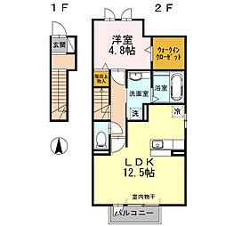 愛知県安城市西別所町本郷の賃貸アパートの間取り