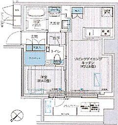 イニシア築地レジデンス 10階1LDKの間取り