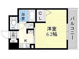 エステムコート新大阪6エキスプレイス 13階1Kの間取り