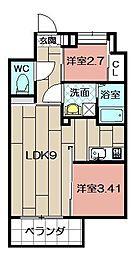 Studie TOBIHATA[406号室]の間取り