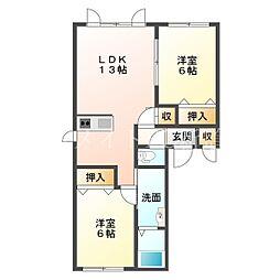北海道札幌市東区伏古十三条4丁目の賃貸アパートの間取り