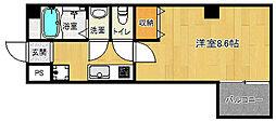 京都市営烏丸線 北大路駅 徒歩20分の賃貸マンション 4階1Kの間取り