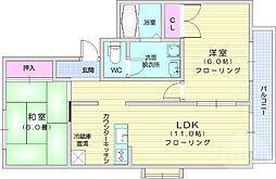 仙台市営南北線 長町南駅 徒歩17分の賃貸アパート 1階2LDKの間取り