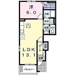 JR身延線 小井川駅 6.8kmの賃貸アパート 1階1LDKの間取り