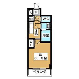 ベル・ソプラトレ 2階1Kの間取り