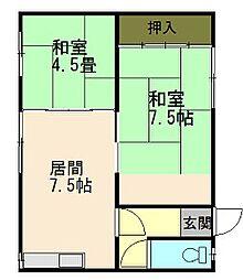 横山荘[2階 右号室]の間取り