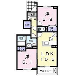 JR宇部線 琴芝駅 徒歩26分の賃貸アパート 1階2LDKの間取り
