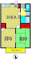 デリエール横須賀A棟[2階]の間取り