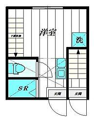PROBANK西尾久B棟 1階ワンルームの間取り