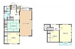 リフォーム後の間取図です。2階の和室は洋間に間取り変更、1階南側の和室は隣室との間に壁を新設して洋間に間取り変更を行いました。水回りは交換済みなので、気持ちよく新生活が始められます。