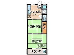 京都府京都市山科区大宅坂ノ辻町の賃貸アパートの間取り
