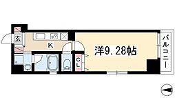 プランベイム滝子通 6階1Kの間取り