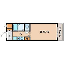 JR関西本線 三郷駅 徒歩3分の賃貸マンション 3階1Kの間取り