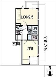 アビタシオン中村[2階]の間取り