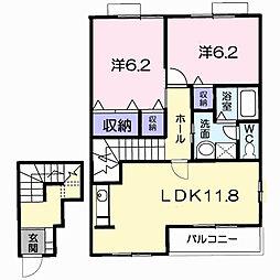 茨城県龍ケ崎市白羽2丁目の賃貸アパートの間取り