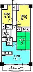 グランドコート甲子園[5階]の間取り