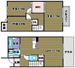 [テラスハウス] 大阪府堺市南区原山台4丁 の賃貸【/】の間取り