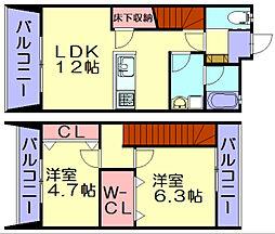福岡県糟屋郡志免町片峰2丁目の賃貸アパートの間取り