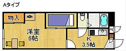 レオパレスベアフルーツ[1階]の間取り