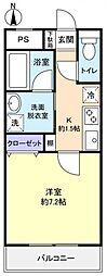 ディアコート勝田台[1階]の間取り