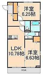 (仮)D-room西綾瀬[2階]の間取り