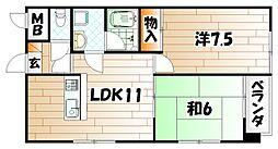 田中第6ハイツ[4階]の間取り