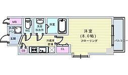 JR大阪環状線 西九条駅 徒歩10分の賃貸マンション 5階1Kの間取り