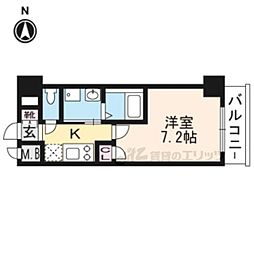エスカーサ京都四条梅津404 4階1Kの間取り