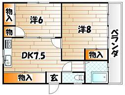 福岡県北九州市小倉北区真鶴2丁目の賃貸アパートの間取り